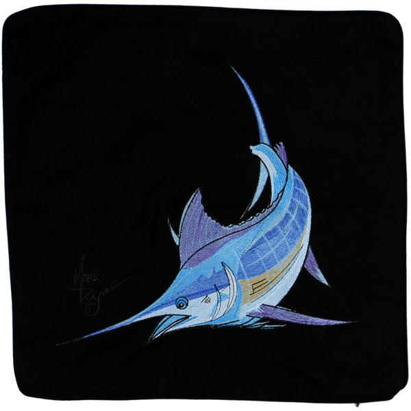 ATLANTIC BLUE MARLIN FISH DECORATIVE THROW PILLOW CUSHION BLACK