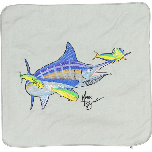 MARLIN & MAHI SALTWATER FISH DEOCRATIVE PILLOW CUSHION LT GREY