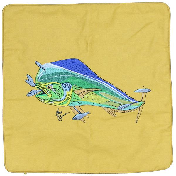 MAHI SALTWATER FISHING HOME DECOR THROW PILLOW CUSHION GOLD