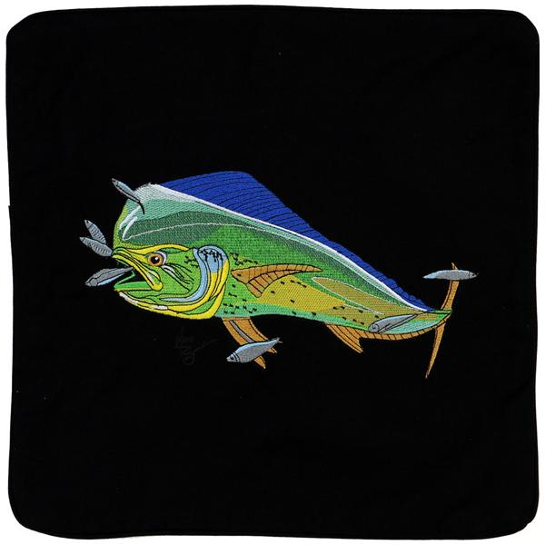 MAHI SALTWATER FISHING EMBROIDERED CANVAS PILLOW CUSHION BLACK