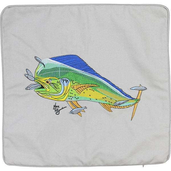 MAHI SALTWATER FISHING INDOOR OUTDOOR DECOR CANVAS CUSHION GREY