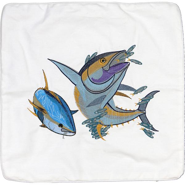 YELLOWFIN TUNA FISH HOME DECOR CANVAS THROW PILLOW CUSHION WHITE