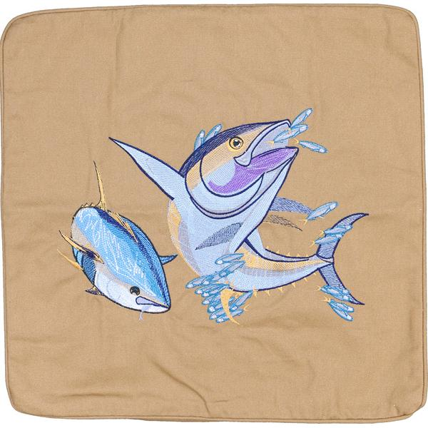 YELLOWFIN TUNA FISH EMBROIDERED CANVAS PILLOW CUSHION DARK TAN