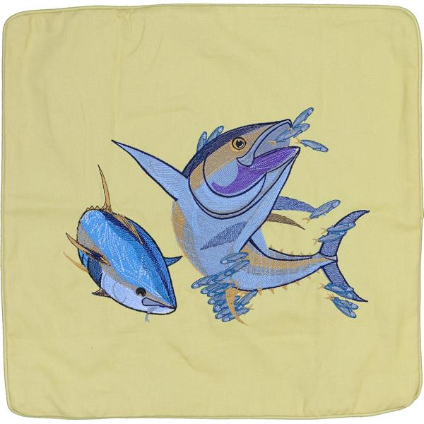 YELLOWFIN TUNA FISH INDOOR OUTDOOR THROW PILLOW CUSHION YELLOW