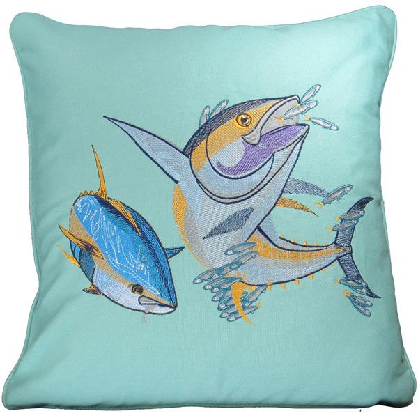 YELLOWFIN TUNA FISH DECORATIVE CANVAS THROW PILLOW CUSHION AQUA