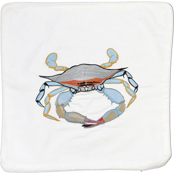 BLUE CRAB INDOOR OUTDOOR HOME DECOR THROW PILLOW CUSHION WHITE