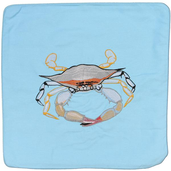 BLUE CRAB DECORATIVE INDOOR OUTDOOR CANVAS PILLOW CUSHION BLUE