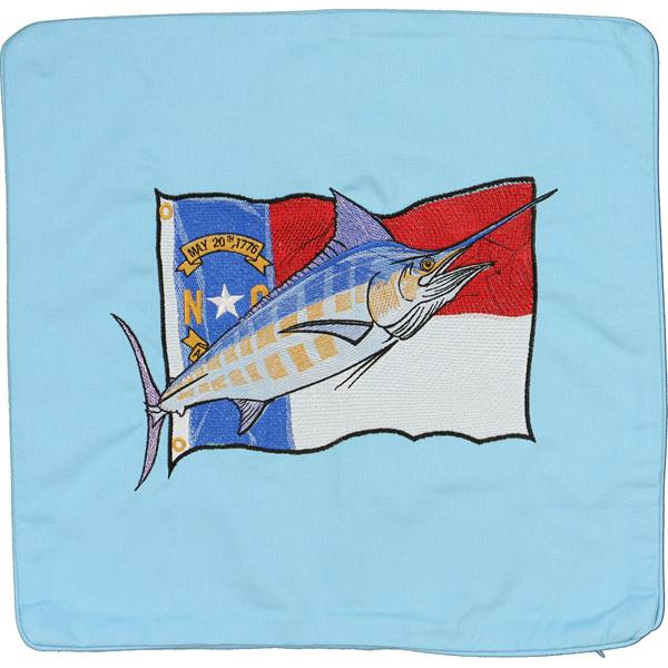 MARLIN NORTH CAROLINA STATE FLAG EMBROIDERED CANVAS CUSHION BLUE