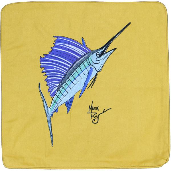 SAILFISH EMBROIDERED DECORATIVE CANVAS THROW PILLOW CUSHION GOLD