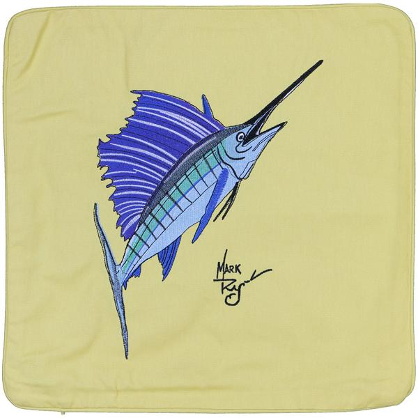 SAILFISH INDOOR OUTDOOR HOME DECOR EMBROIDERED CUSHION YELLOW