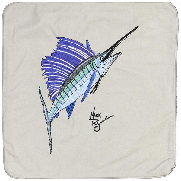 SAILFISH INDOOR OUTDOOR HOME DECOR EMBROIDERED PILLOW LIGHT GREY