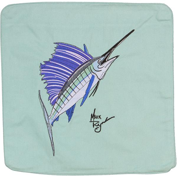 SAILFISH DECORATIVE EMBROIDERED CANVAS CUSHION PILLOW AQUAMARINE
