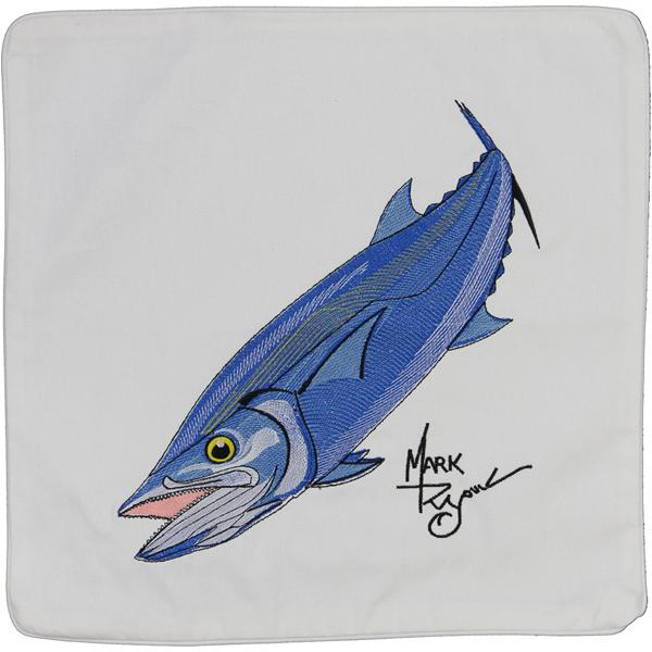 KING MACKEREL FISH INDOOR OUTDOOR THROW PILLOW CUSHION WHITE