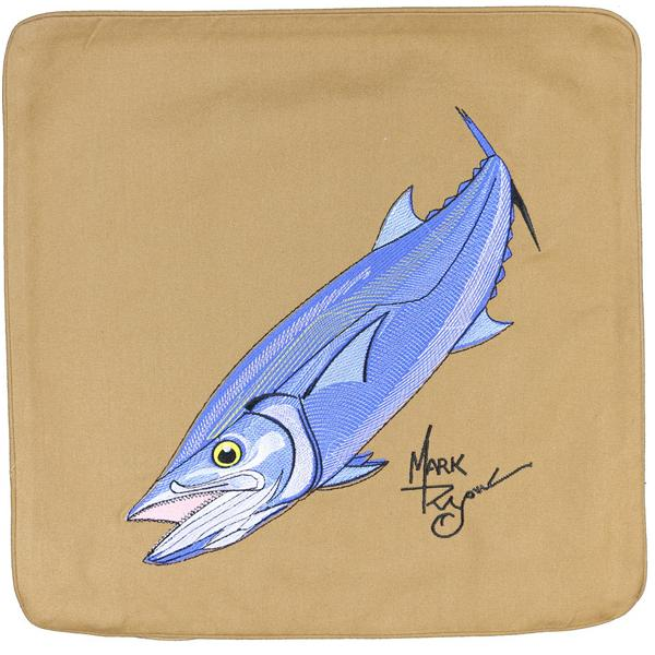 KING MACKEREL FISH EMBROIDERED CANVAS PILLOW CUSHION DARK TAN