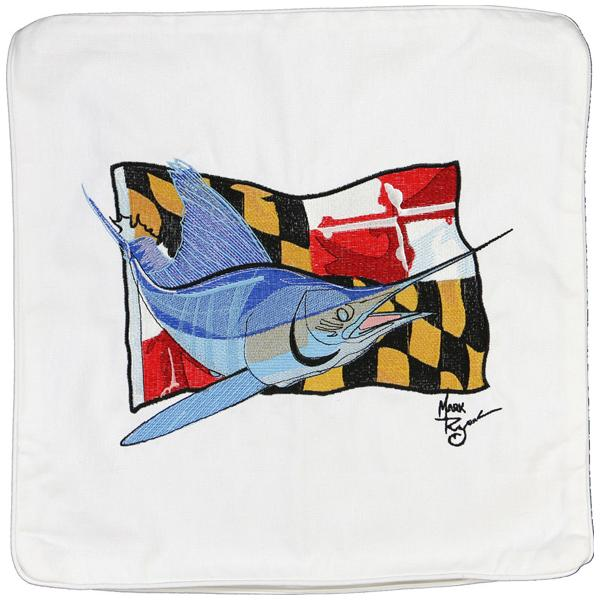 MARLIN MARYLAND STATE FLAG INDOOR OUTDOOR PILLOW CUSHION WHITE