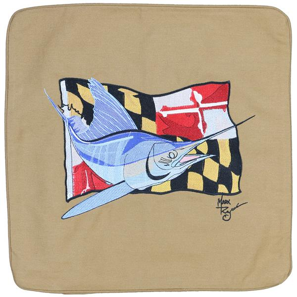 MARLIN MARYLAND STATE FLAG EMBROIDERED THROW PILLOW CUSHION TAN