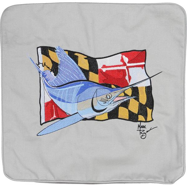 MARLIN MARYLAND STATE FLAG DECORATIVE THROW PILLOW CUSHION GREY