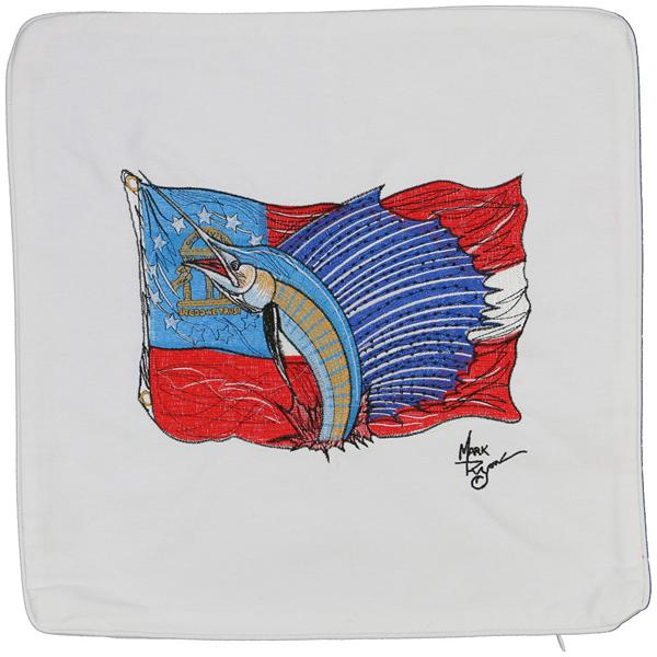 SAILFISH GEORGIA STATE FLAG DECORATIVE PILLOW CUSHION WHITE