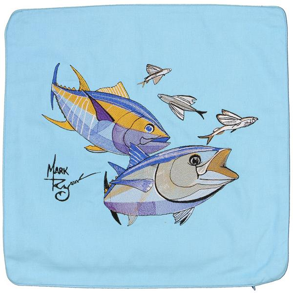 BLUEFIN YELLOWFIN TUNA FLYING FISH EMBROIDERED THROW PILLOW BLUE