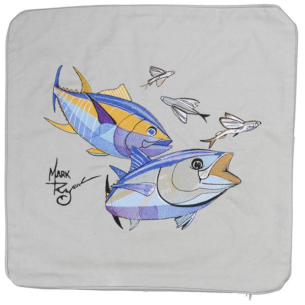 BLUEFIN YELLOWFIN TUNA FLYING FISH EMBROIDERED CUSHION GREY
