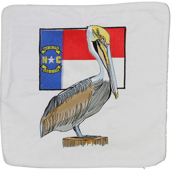 PELICAN NORTH CAROLINA STATE FLAG DECORATIVE THROW PILLOW WHITE
