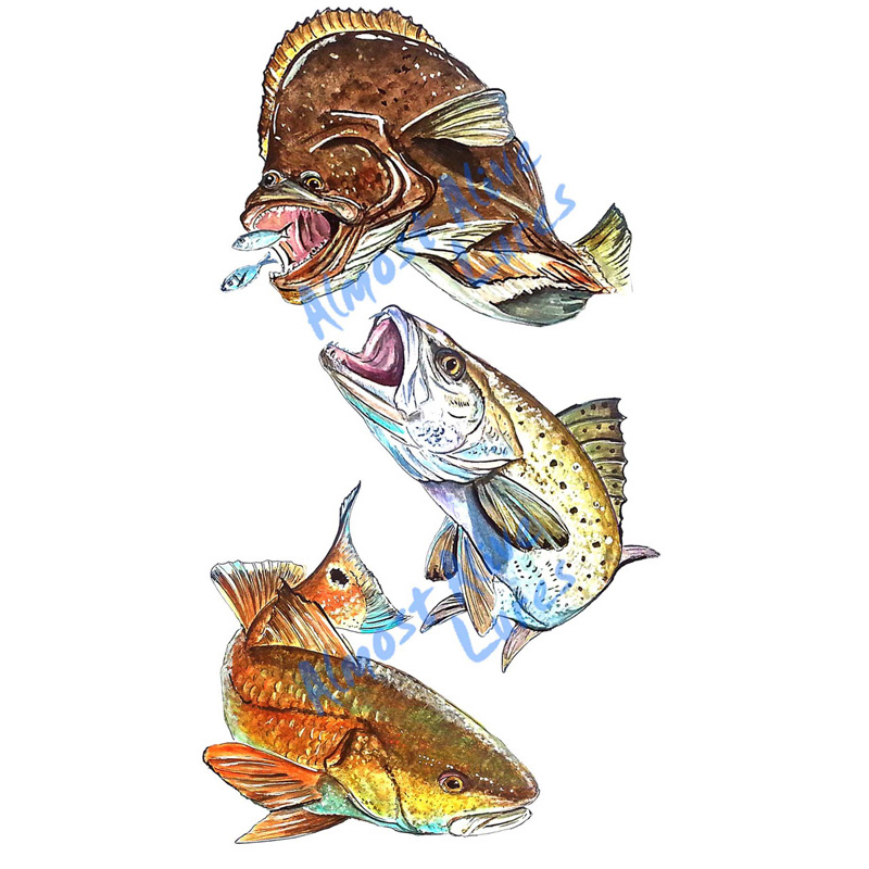 Red, Trout, And Flounder - Printed Vinyl Decal