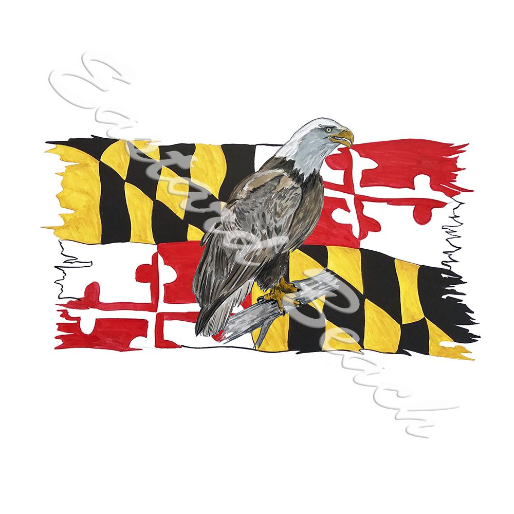 Maryland Flag Tattered w/ Eagle 2