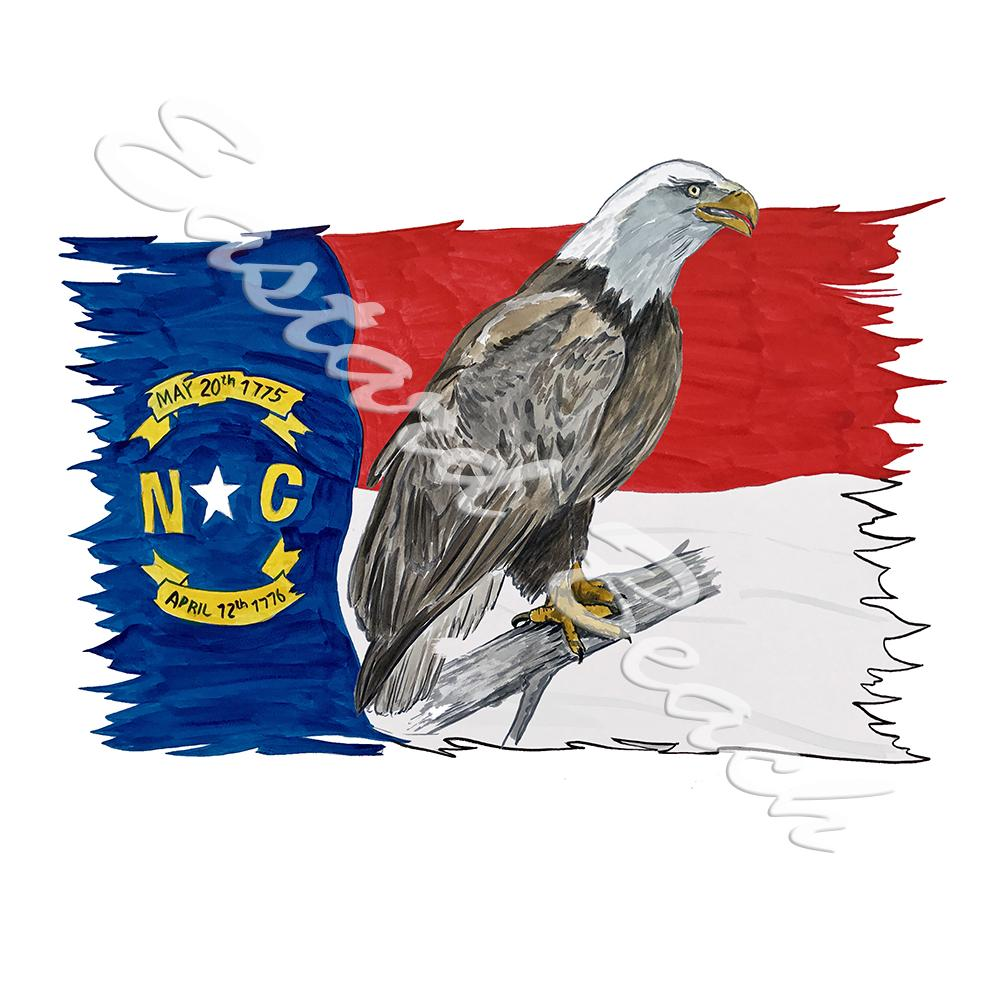 NC Flag Tattered w/ Eagle 2