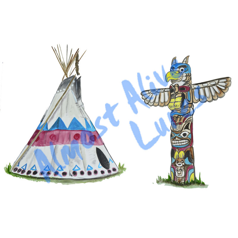 Tee Pee And Totem Pole - Printed Vinyl Decal