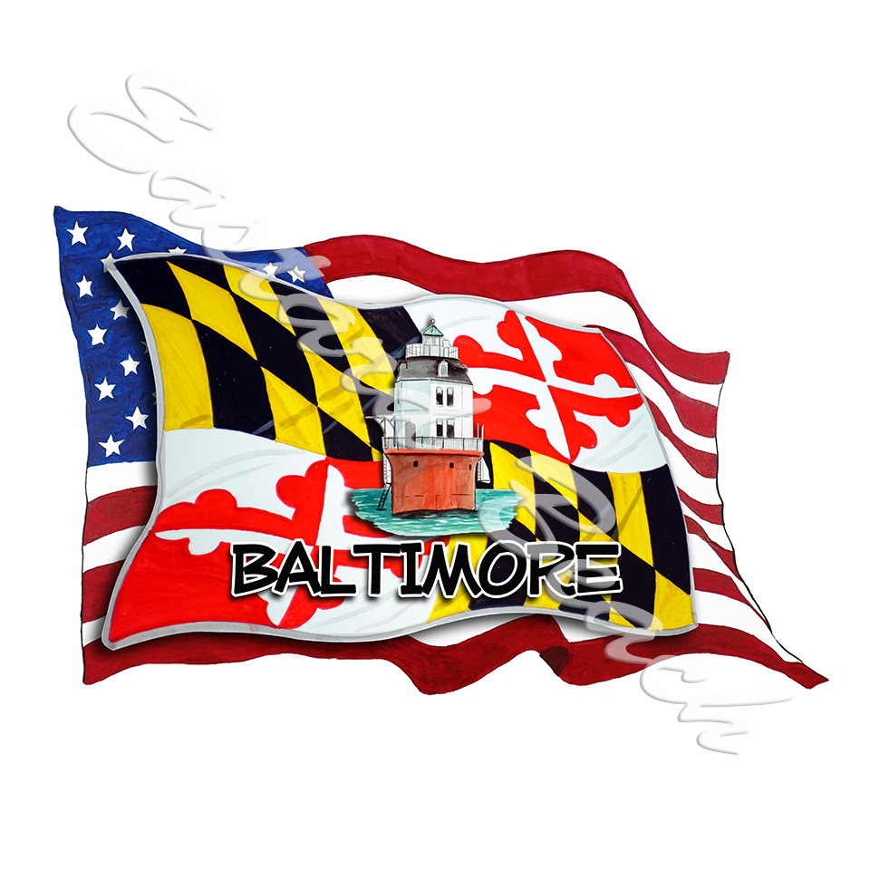 USA/MD Flags w/ Lighthouse- Baltimore
