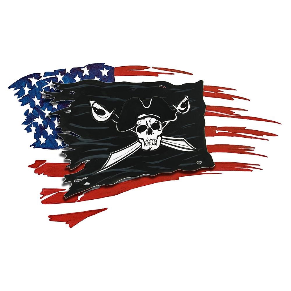 USA and Pirate Battle Flag