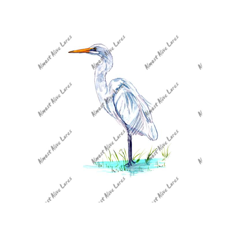 White Egret - Printed Vinyl Decal