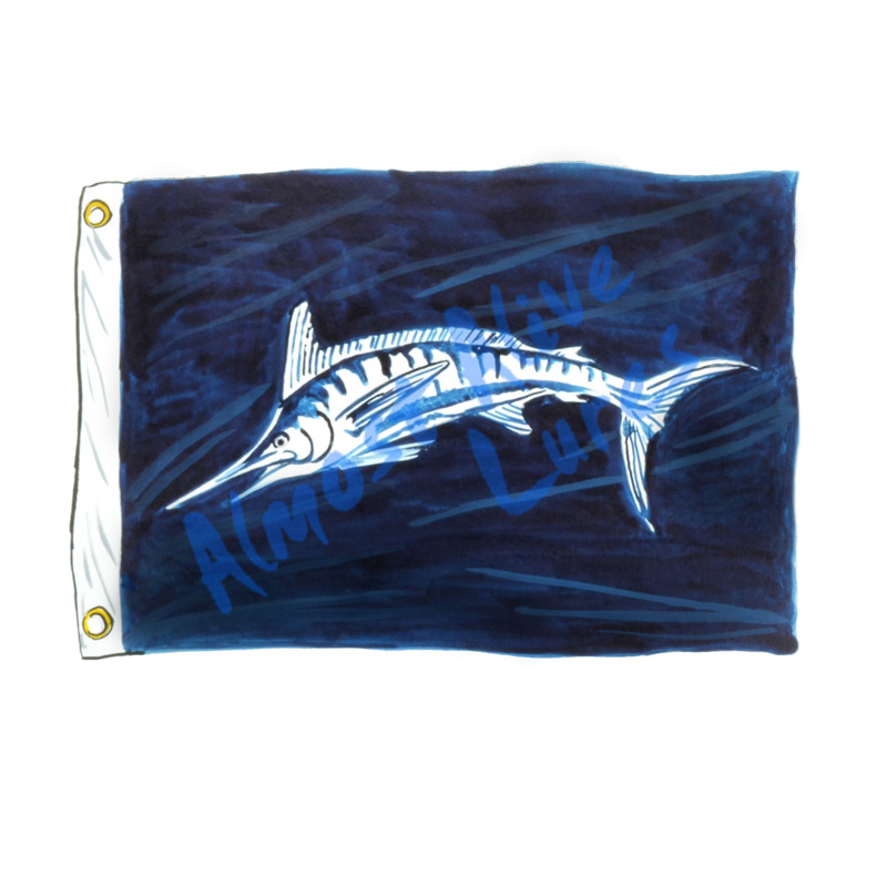 White Marlin Release Flag - Printed Vinyl Decal
