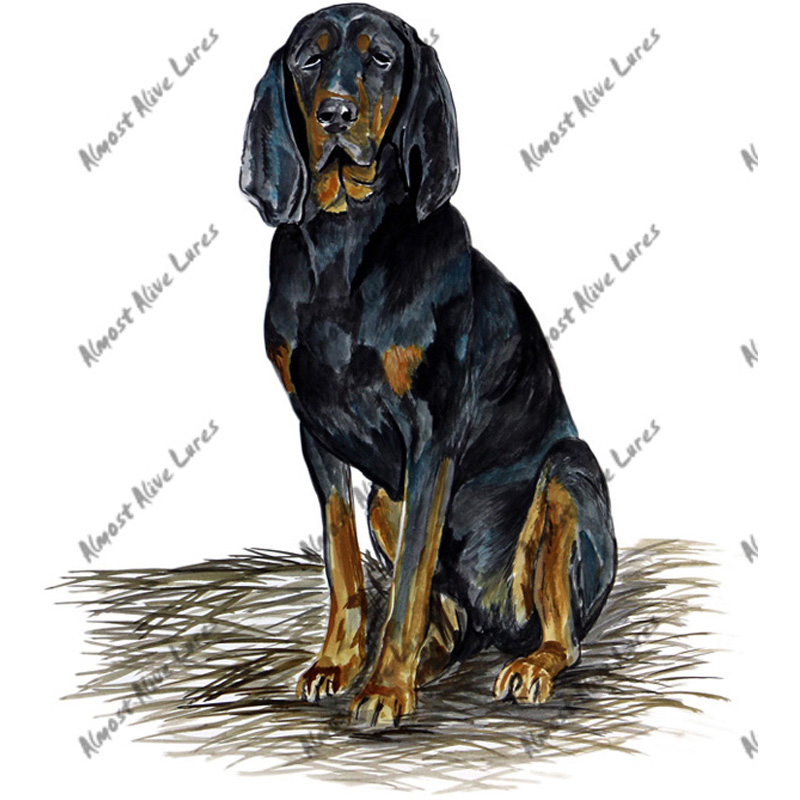 Black And Tan Coon Hound - Printed Vinyl Decal