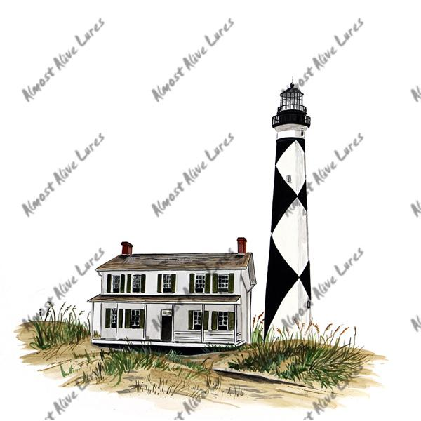 Cape Lookout Lighthouse & Keepers House - Printed Vinyl Decal
