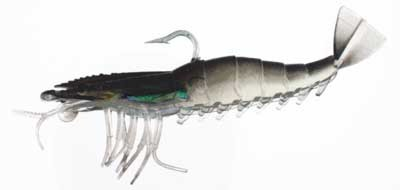 "Almost Alive 5 Pack 4"" Soft Shrimp Prawn Lures Black Rigged"