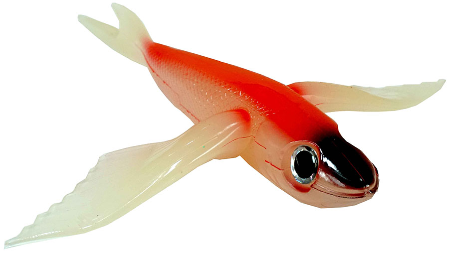 "Almost Alive Lures 10"" Soft Plastic Flying Fish Bait Red/B"