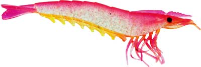 "Almost Alive 4 Pack 4.5"" Shrimp Prawn Lures Pink Yellow Unrigged"