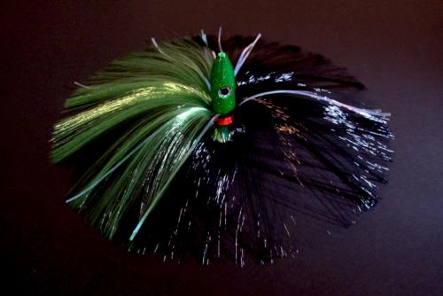 270g Green Bullet Head With Green/black Hair With Mylar Flash
