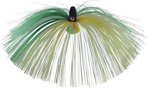 Witch Lure, Black Bullet Head, 60g, With 7 Inch Green, Yellow Ha