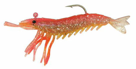 "Almost Alive 6 Pack 3.25"" Soft Shrimp Lures Pink Yellow Rigged"