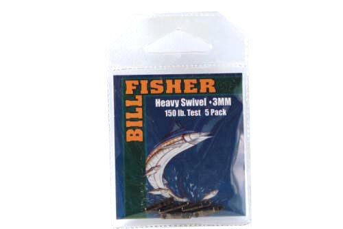 Billfisher Hsb3-5pk Heavy Swivel 3mm 150lb Blk 5pk