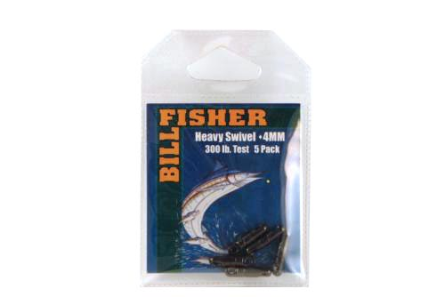 Billfisher Hsb4-5pk Heavy Swivel 4mm 300lb Blk 5pk