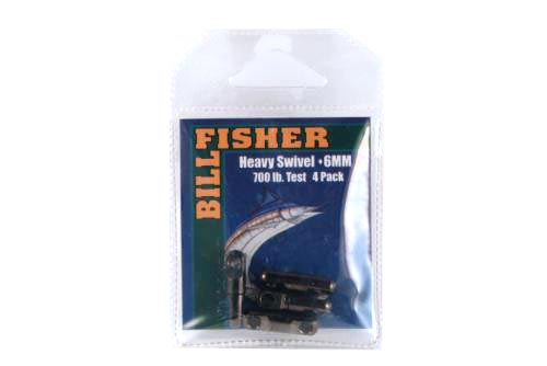 Billfisher Hsb6-4pk Heavy Swivel 6mm 700lb Blk 4pk