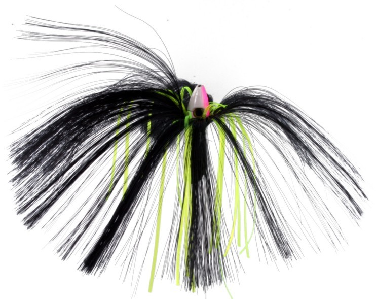 Witch Lure, 1oz, Pink-white Head, Black Hair, Chartreuse Mylar