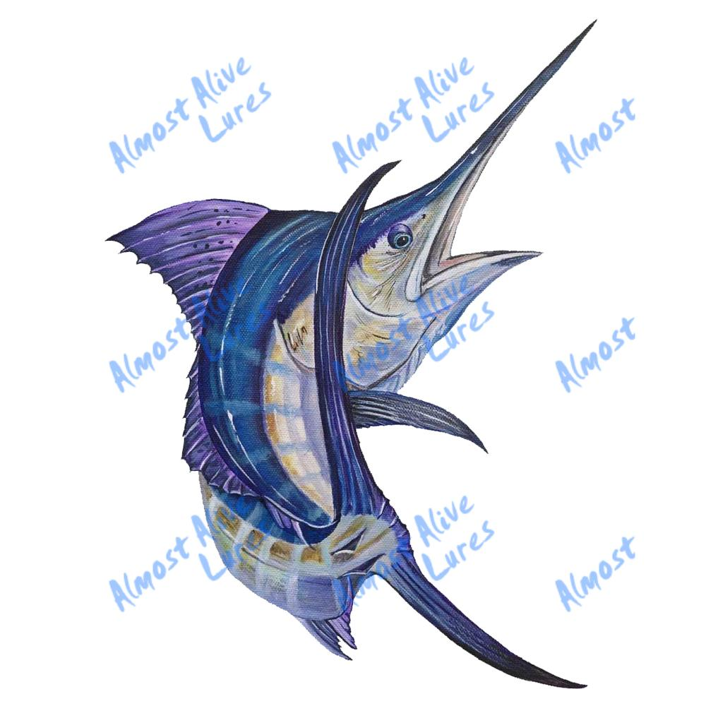 Blue Marlin Jumping - Printed Vinyl Decal