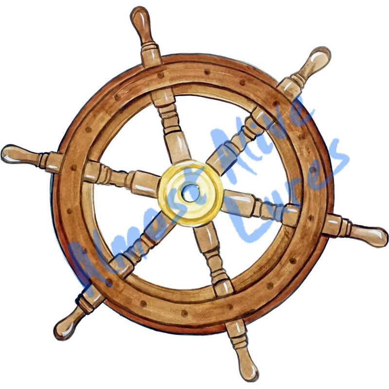 Ships Wheel - Printed Vinyl Decal